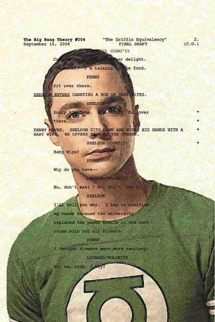 Script Art Big Bang Theory Series Sheldon Cooper by theframejob