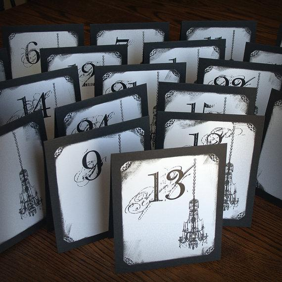 Chandelier Tented Table Numbers Wedding by ShannaMicheleDesigns