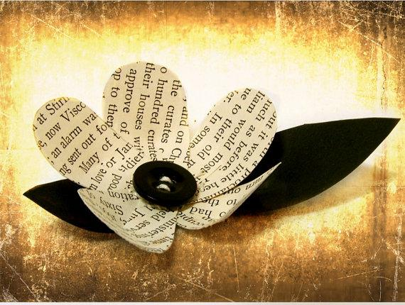 1 Vintage Book Page Flower Boutonniere Idea by theepapergirl