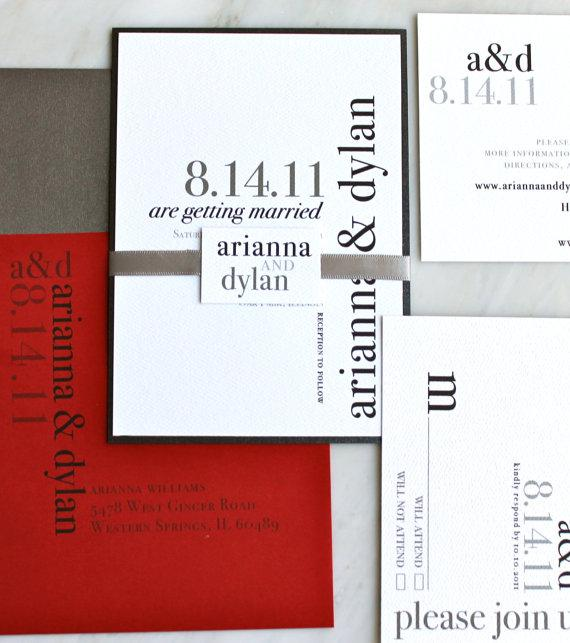 Urban Elegance Modern Wedding Invitations Black by BeaconLane