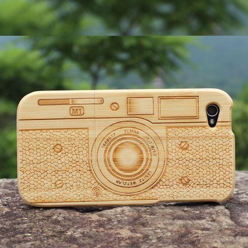 Vintage Camera Bamboo Case for iPhone 4 4S with Handmade Engraved Cover - slickfans.com
