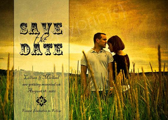 Rustic Charm Save the Date Photo Card by happyprintsshop on Etsy