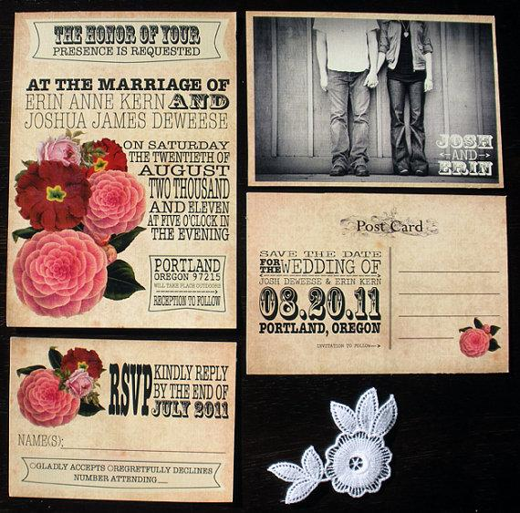PDF SAMPLE Vintage Wedding Invitation Set save the by tonideweese