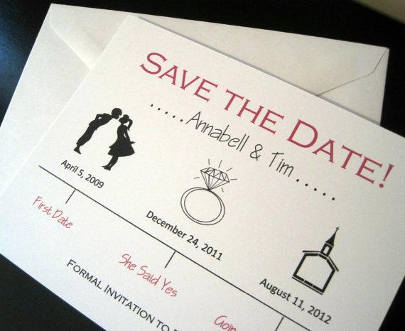 Timeline Save the Date Wedding Card by OneTenStationery on Etsy
