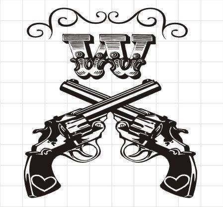 Crossed Revolver Guns with Old Fashioned Monogram by GlitterPuff