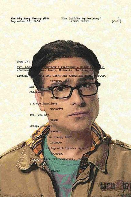 Script Art Big Bang Theory Series Leonard by theframejob on Etsy