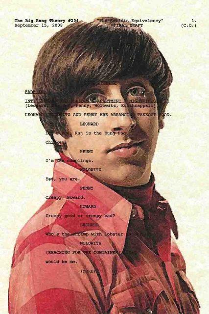 Script Art Big Bang Theory Series Howard Wolowitz by theframejob