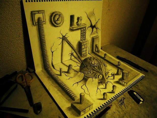 3D Illusion Sketchbook Drawings by Nagai Hideyuki | Colossal