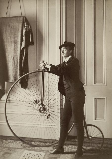 Frances Benjamin Johnston: Self-portrait with false moustache and penny-farthing, ca. 1890 | Flickr - Photo Sharing!