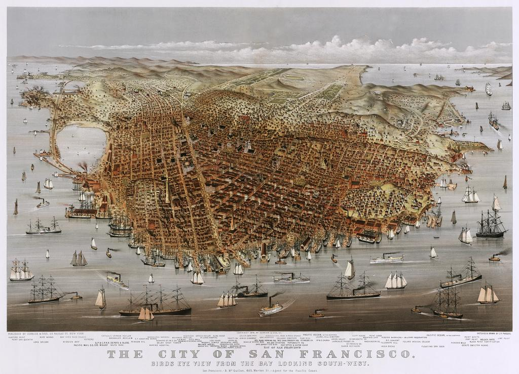 The City of San Francisco, panorama by Currier & Ives, 1878 | Flickr - Photo Sharing!