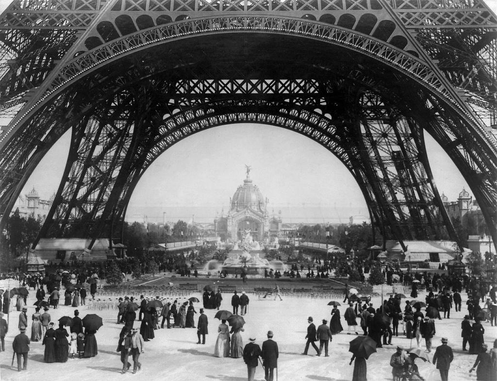 Paris Exposition, view from ground level of the Eiffel tower with Parisians promenading, 1889 | Flickr - Photo Sharing!