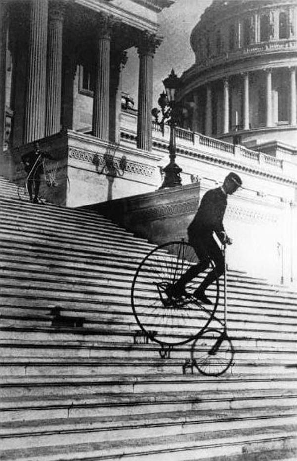 Will Robertson of the Washington Bicycle Club rides an American Star Bicycle down the steps of the United States Capitol in 1885. | Flickr - Photo Sharing!