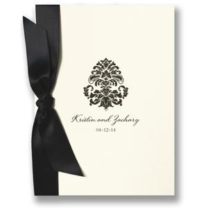 William Arthur - Ecru Folded Wedding Invitation with Black Bow - 81-86794W23
