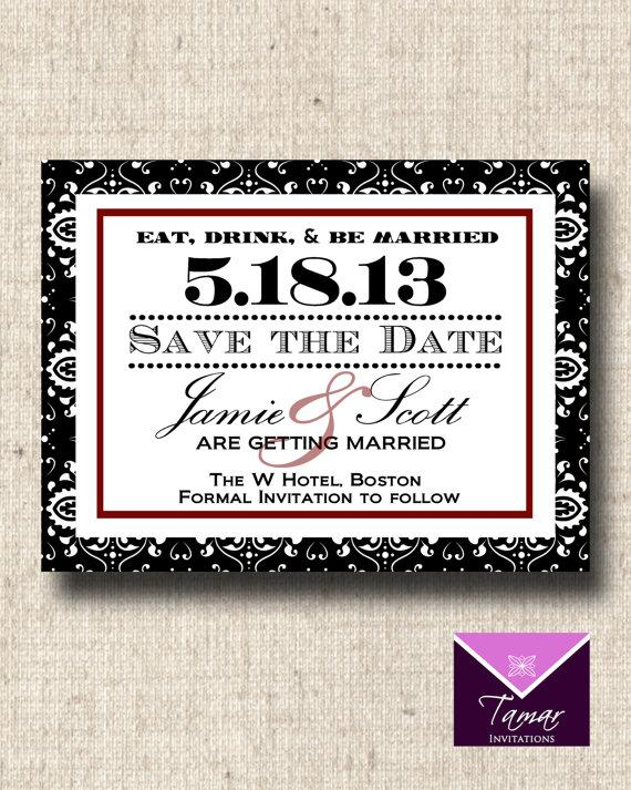 Printable Damask Invitation Eat Drink and Be by TamarInvitations