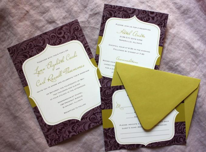 Damask Wedding Invitations Eggplant By Customstationery