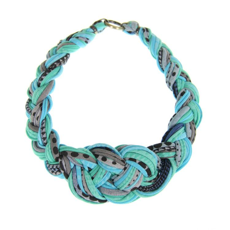 Braided Jewelry Necklace Choker Teal Blue African by necklush