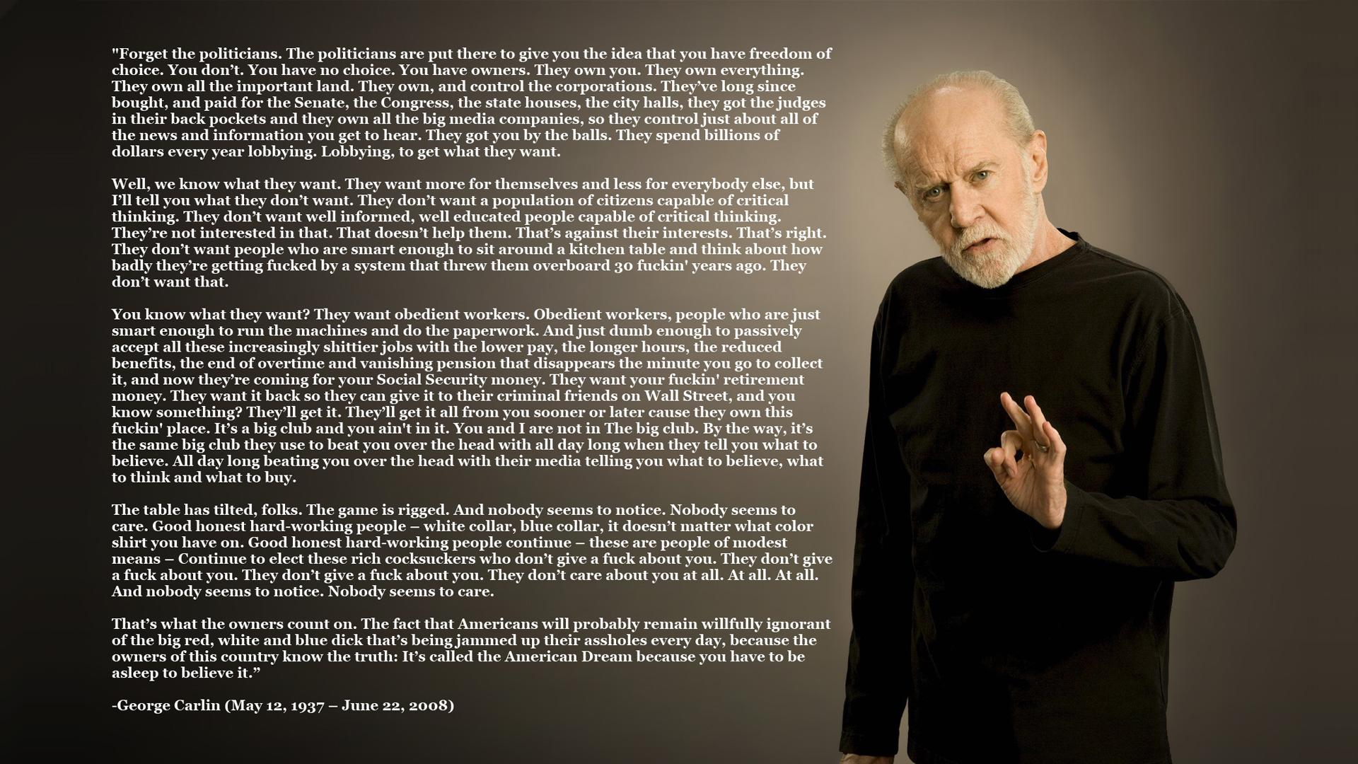 text quotes George Carlin philosophy - Wallpaper (#813102) / Wallbase.cc