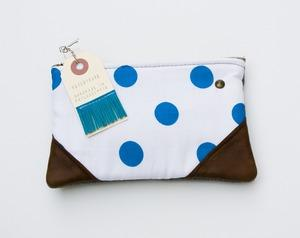 MADEBYHANK — a small bright blue + white polka dot print zipper purse with leather corners and a METAL zipper