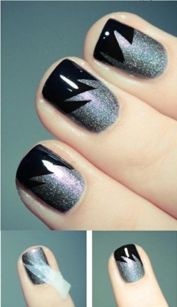 black glitter nail art - StyleCraze