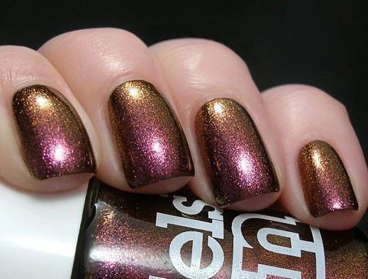 pinky brown nail art - StyleCraze