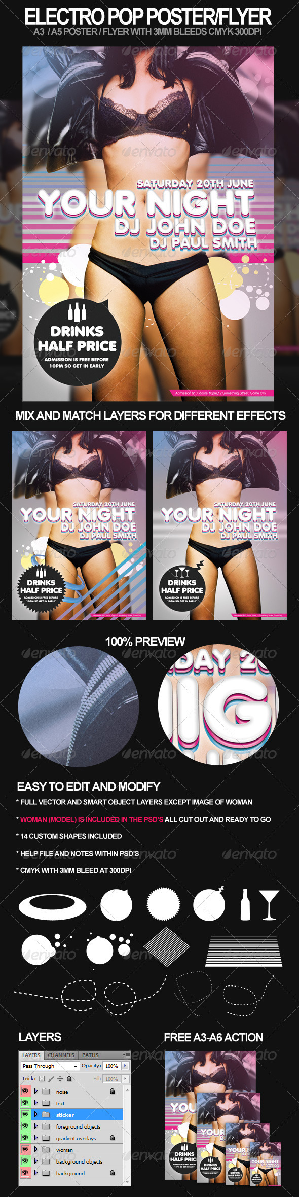 Print Templates - Electro Pop A3 Poster and A5 Flyer | GraphicRiver