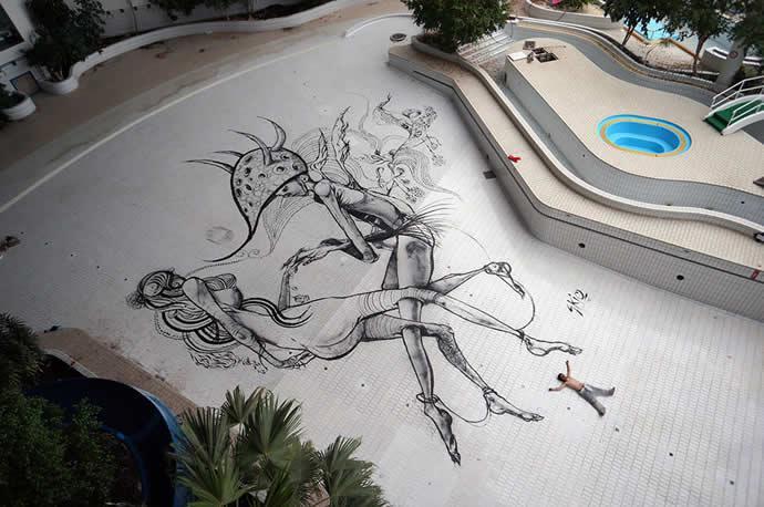 Olybop.info - Actualités Webdesign, Culture et Graphisme - » Fresque Streetart de 200m2