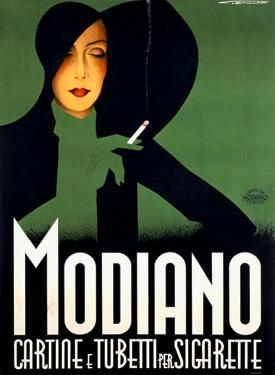 Deco Modiano Tobacco Cigarette by Lenhart - Vintage Amazing Women Poster