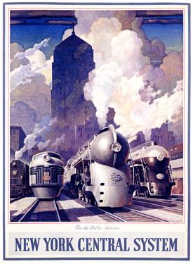 New York Central Railroad by Leslie Ragan - Vintage Trains Poster