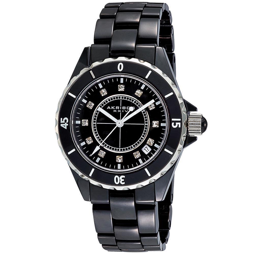 Akribos XXIV Women's Quartz Date Midsize Ceramic Bracelet Watch | Overstock.com
