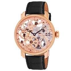 Akribos XXIV Men's Mechanical Skeleton Rose Goldtone Strap Watch | Overstock.com