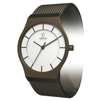 Buy.com - Obaku Women's V123LNIMN Brown Stainless-Steel Quartz Watch with White Dial