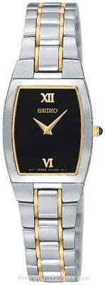 Seiko Ladies' Watch - Stainless & Gold Tone - Black Face - Cabochon Crown SUJE85