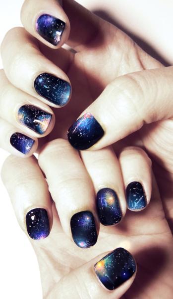 galaxy in nails - StyleCraze