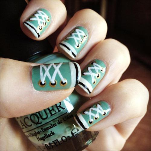 Shoe lace nail art - StyleCraze