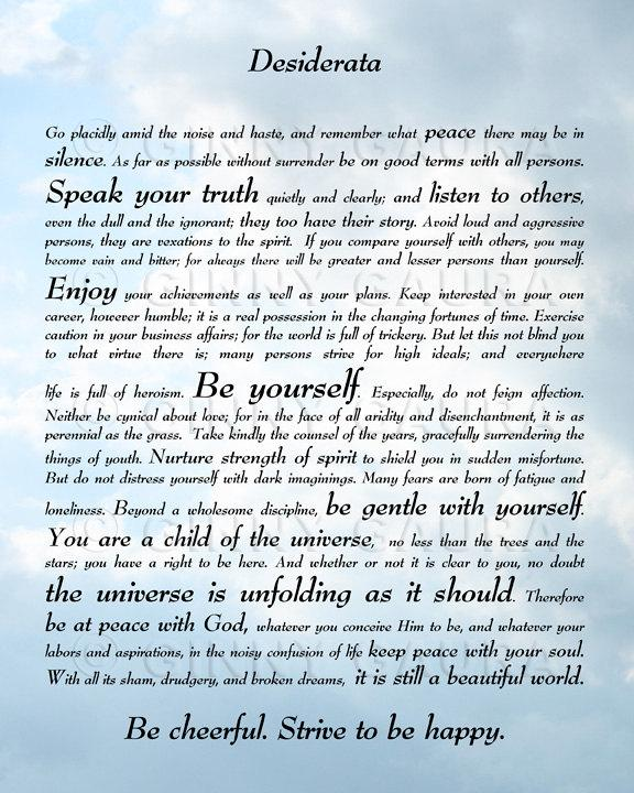 Desiderata Poem by Max Ehrmann 8x10 Sky Print by GooStudio on Etsy