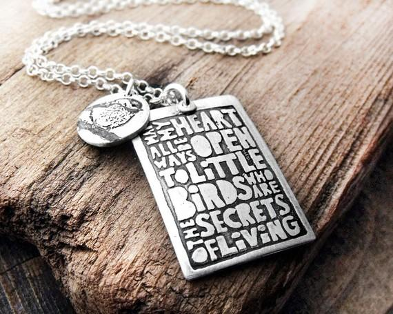 Inspirational quote necklace EE Cummings by lulubugjewelry