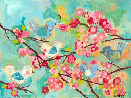 Cherry Blossom Birdies - Wall Art