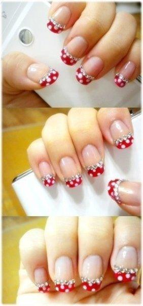 red dot cheeky nail art design - StyleCraze