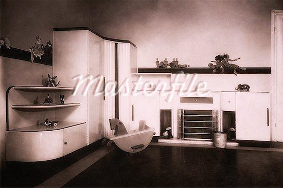 Vintage Photograph of Nursery And Furniture, Circa 1930's Stock Photos