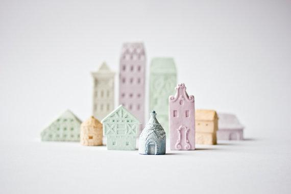 Clay Architecture Set Ceramic clay houses by Artisanie by POAST
