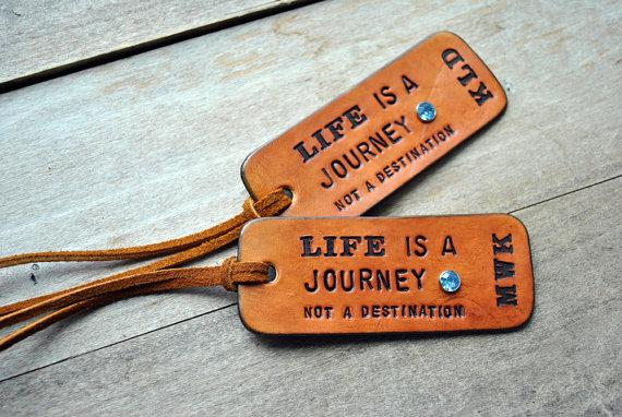 NEW 2 Custom Leather Luggage Tags LIFE is a by OfTheFountain