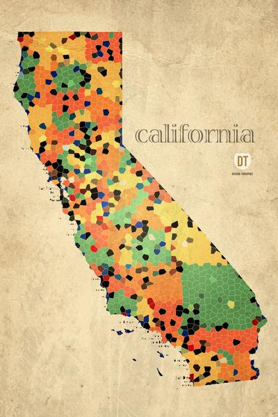 Map of California Counties - Vintage Retro Polygonal Style Art Print by Design Turnpike | Society6