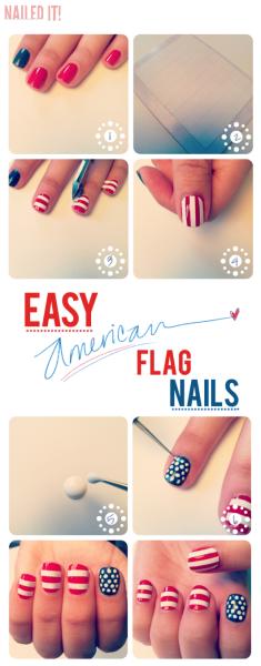 american flag nail art - StyleCraze
