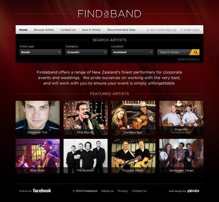 BENEK // Findaband // Branding + Web Design