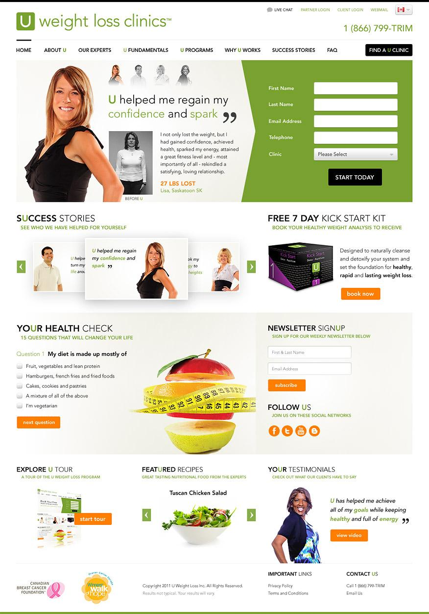 U Weight Loss Clinics - Web Design, User Interface Design