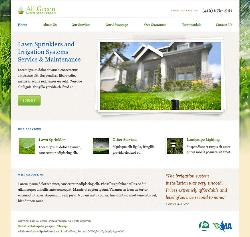 All Green Lawn Sprinklers - WordPress, Web Design