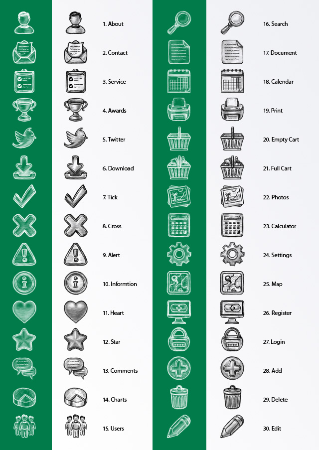 Hand Drawn Sketch Icon Set | Web Icon Set