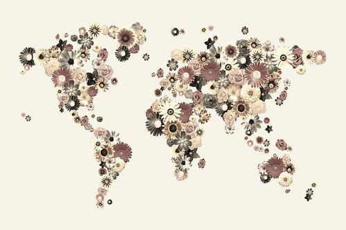 Flower World Map Sepia Digital Art by Michael Tompsett - Flower World Map Sepia Fine Art Prints and Posters for Sale