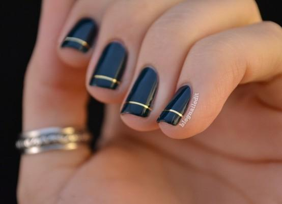 gold line nail art - StyleCraze