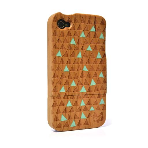 Hardwood iPhone 4 & 4S cover - Warped Triangle Green : A Skulk Of Foxes
